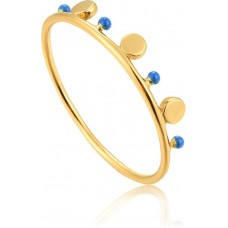 Gold plated Dotted Triple Disc Ring - 23414