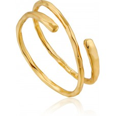 Gold plated Ripple Adjustable ring - 23417